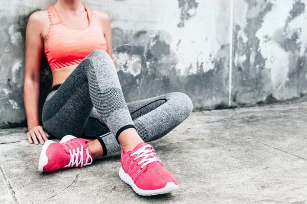 pink work out shoes close up